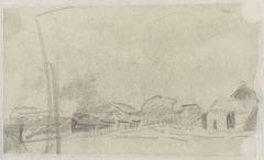 Schetsblad met landschap met boerderij