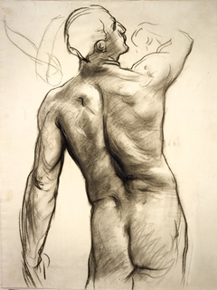 Standing Male Nude with Raised Right Arm Seen from Behind