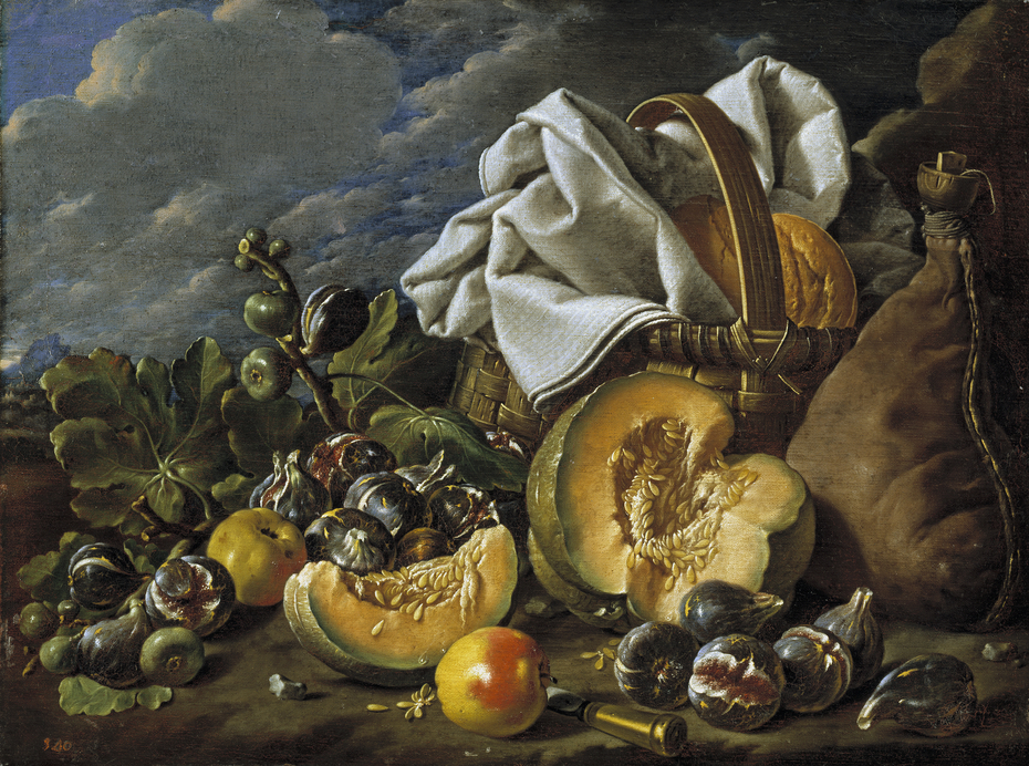 Still Life with Melon Figs Apples Wineskin and Picnic Hamper in a Landscape