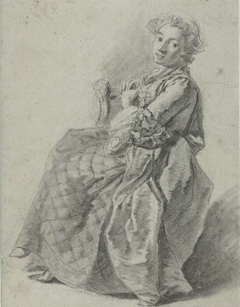 Studie van een zittende jonge vrouw, naar links