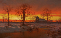 Sunset, Winter by Louis Rémy Mignot, 1862, High Museum of Art