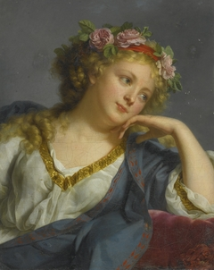 Portrait of a Lady wearing a Floral Wreath, possibly as Flora