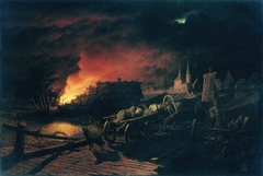 The Fire in the Village at Night