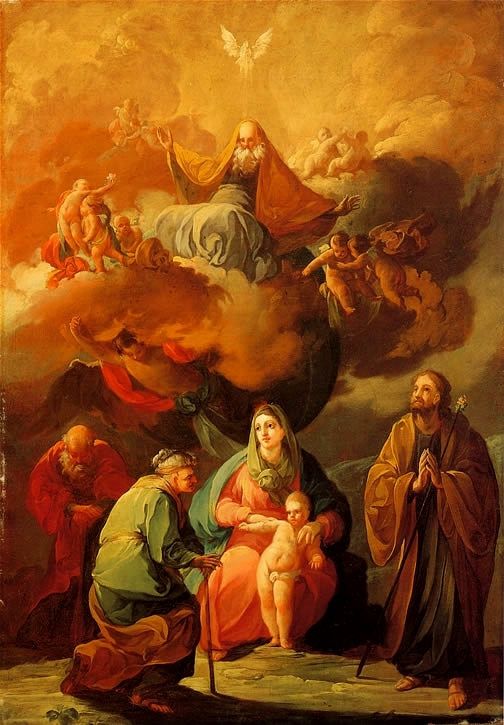 The Holy Family with Saint Joachim and Saint Anne Before the Eternal Glory
