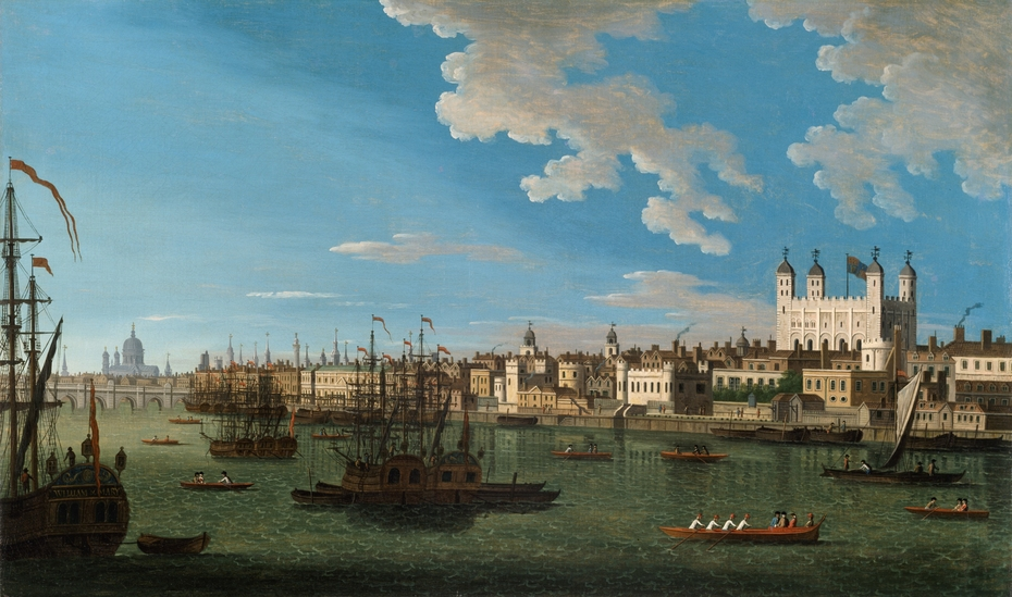 The Thames at the Tower of London with London Bridge and St. Paul's in the Distance