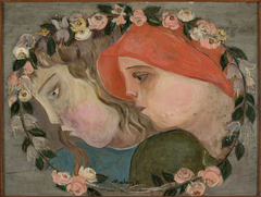 Two heads of little girls in a garland of flowers