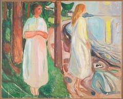 Two Women in White on the Beach