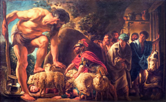 Ulysses and his men slip away concealed under rams