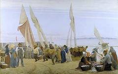 Morning at Hornbæk. The fishermen returning
