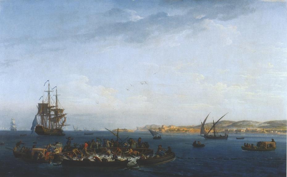 View of the Bay of Bandol: Tuna Fishing