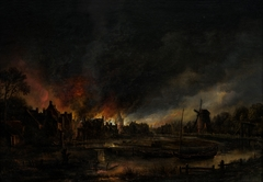 Village on Fire at Night