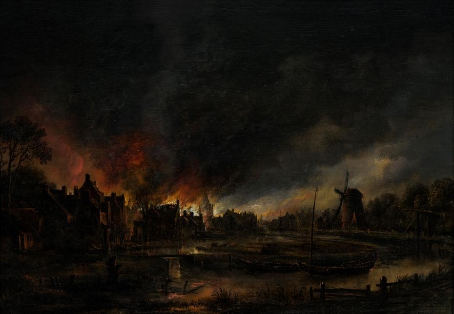 Village on Fire at Night