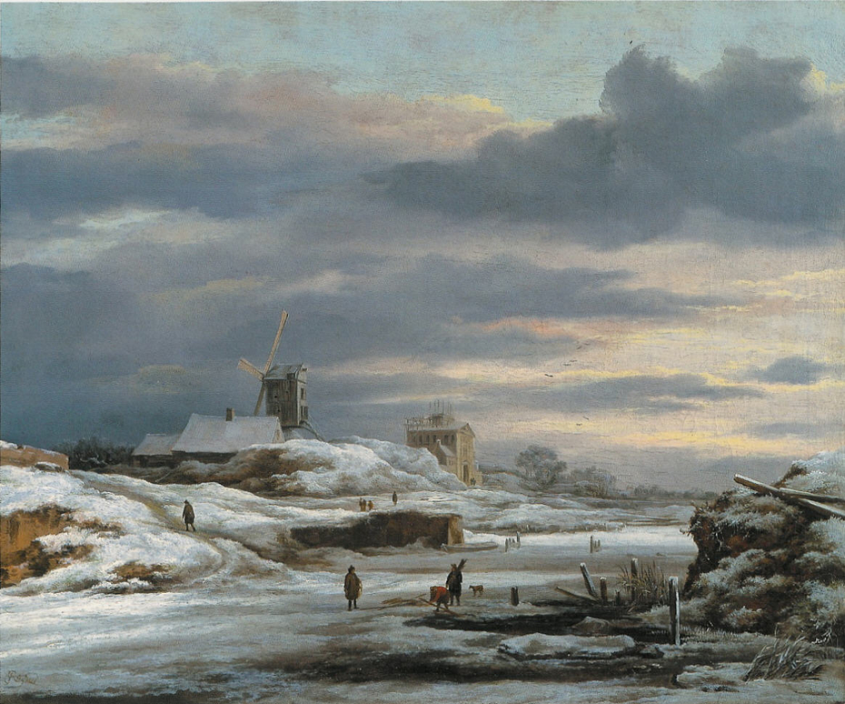 Winter Landscape with figures and a Windmill