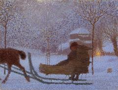 Winterlandschaft mit Schlitten
