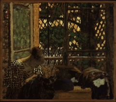 Woman Sewing before a Garden Window