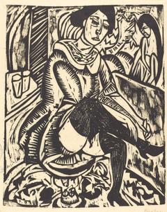 Woman Tying Her Shoe (Frau, Schuh Zuknopfend)