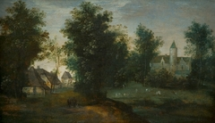 Wood Landscape with Buildings