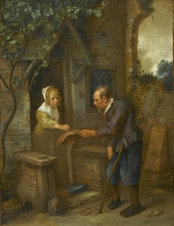 Young Girl Giving Alms to an Old Man
