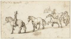 Zeven paarden op een rij