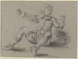 Zittende jongen met opgeheven armen