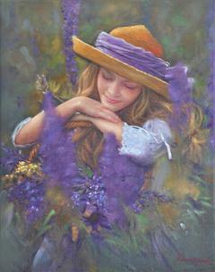 «Kορίτσι με μοβ λουλούδια», 40 x 50 cm, oil on canvas.