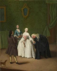 A Nobleman kissing a Lady