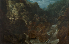 A Rocky Landscape with a Waterfall: the Flight into Egypt