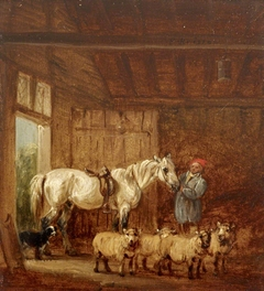 A White Horse with a Groom, and Sheep in a Barn