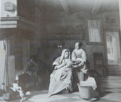 A Woman and Child with a Serving Woman with Asparagus