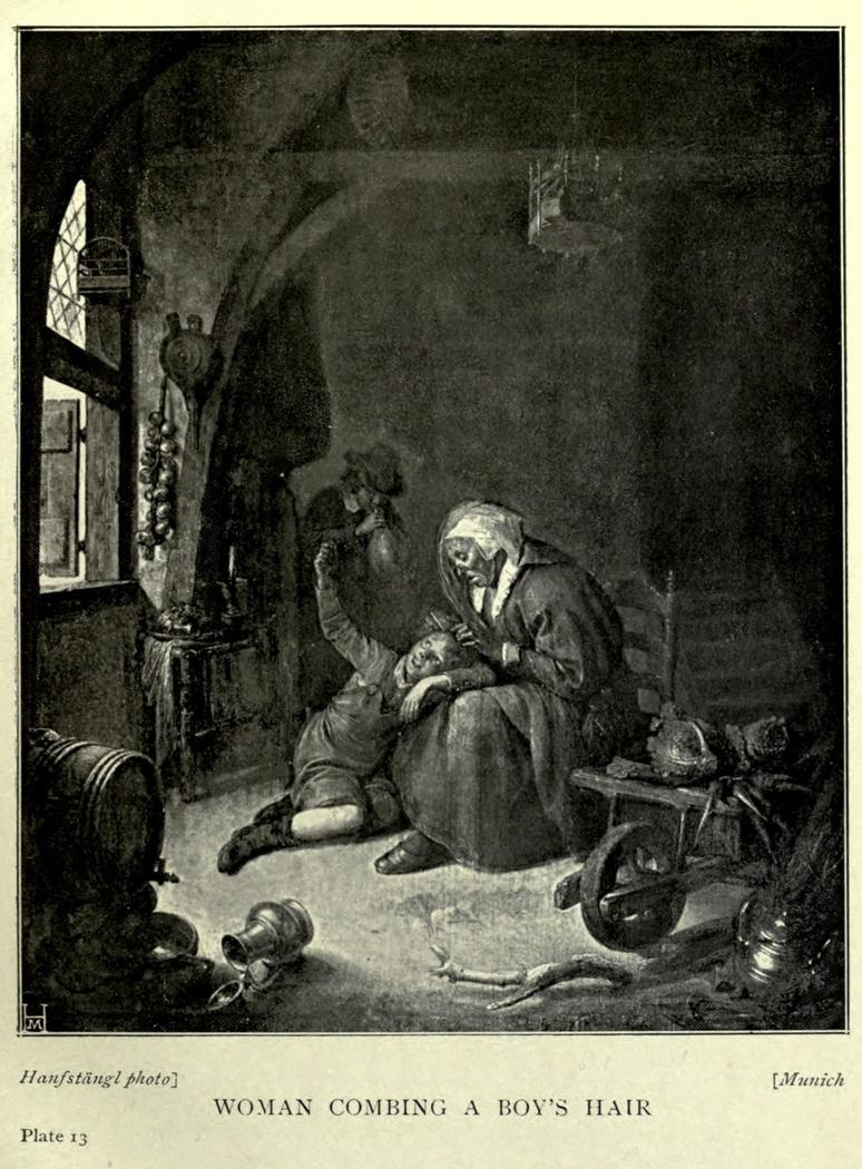 A Woman combing a Boy's Hair