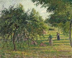 Apple trees and peasant woman raking hay, Éragny