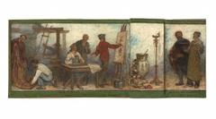 Benvenuto Cellini, artiste du XVIè siècle, admire les produits de l'art moderne : Les tissus : Esquisse pour la salle dessin de l'école de la rue Dombasle, 15ème arrondissement de Paris