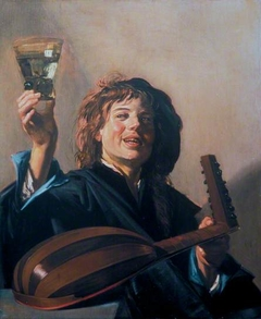 Boy with a glass and a lute