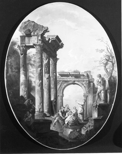 Capriccio of Roman Ruins with a Statue of Silenus and Dionysus