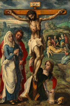 Christ on the Cross, with the Entombment in the Background (formerly attributed to Pieter Aertsen)