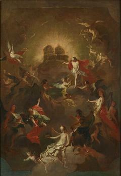 Christus und die neun Engelchöre erwarten Maria vor seinem und ihrem Thron
