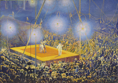 """Clowns in the arena of the circus """"Italian Comedy"""""""