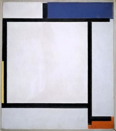 Composition with blue, black, yellow and red