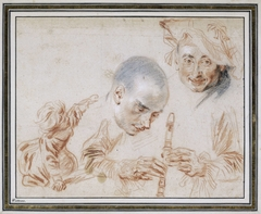 Crouching Child, Two Male Heads, One Wearing a Beret, Arms and Hands of A Recorder-Player