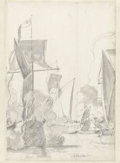De jachten Kitchen (kroo) en Cleveland (klevelant) tijdens de tocht van de Engelse koning Karel II over de Thames naar Sheerness en Chatham op 27 Augustus 1681