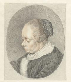 De Spinster (detail van het hoofd van de vrouw)