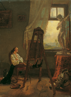 Der eingeschlafene Maler im Atelier