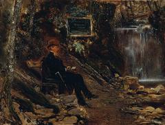 Der Schriftsteller Hermann Rollett am Wasserfall