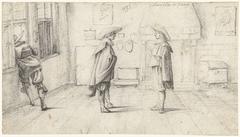 Drie mannen in een schildersatelier