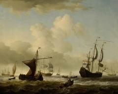 Dutch men o'war and other shipping in choppy seas