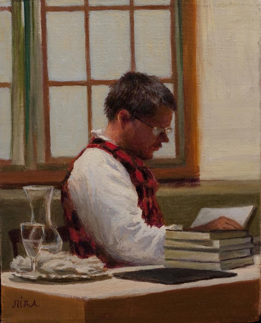 """El Soldado: Soldier of Words"" by Lydia Martin ©2013 oil on Belgian linen (12""x9"") (portrait of American author, William T. Vollmann)"