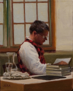 """El Soldado: Soldier of Words"" by Lydia Martin ©2013 oil on Belgian linen (12""x9"") (portrait of American author, William T. Vollmann)"