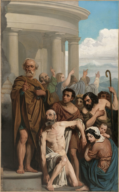 Esquisse pour l'ancienne église Saint-Ambroise : Saint Pierre guérissant un boiteux à la porte du temple