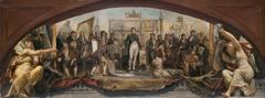 Esquisse pour le pavillon Denon au Louvre : Les quatre âges artisique de la France - Présentation des plans à Napoléon