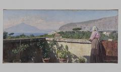 Femme sur la terrasse de l'hôtel Cocumella. Vue sur le Vésuve